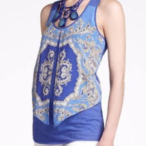 Anthropologie Leifnotes Parted Paisley Tank Blue M